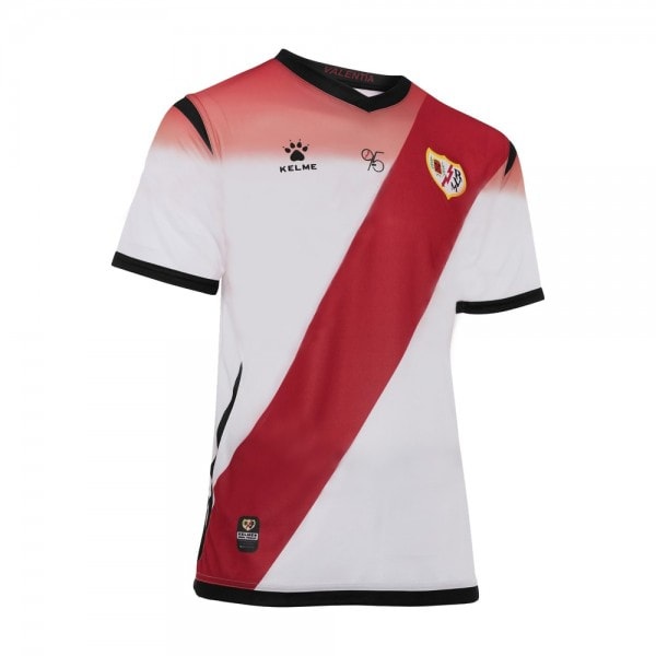 Rayo Vallecano Home 2019/2020 Football Shirt Manufactured By Kelme. The Club Plays Football In Spain.