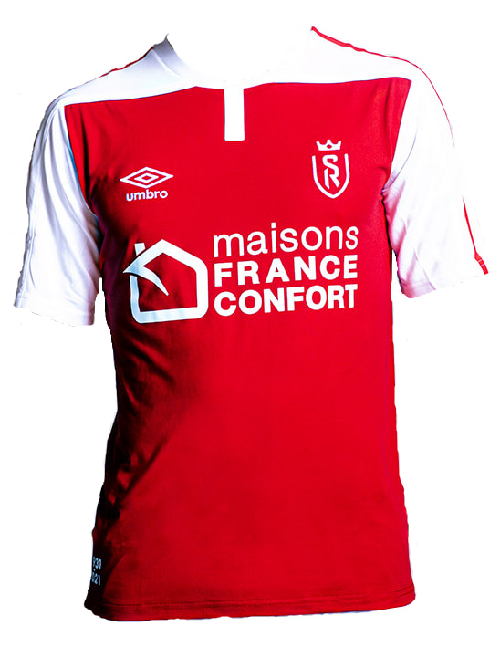 Reims Home 2020/2021 Football Shirt Manufactured By Umbro. The Club Plays Football In France.
