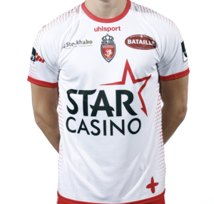 Mouscron Home 2020/2021 Football Shirt Manufactured By Uhlsport. The Club Plays Football In Belgium.