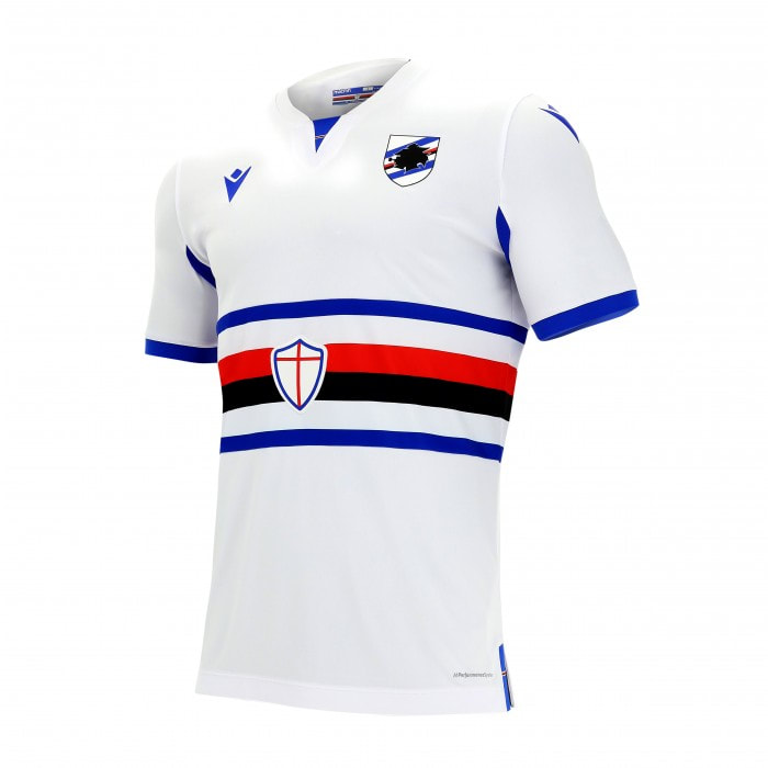 Sampdoria Away 2020/2021 Football Shirt Manufactured By Macron. The Club Plays Football In Italy.