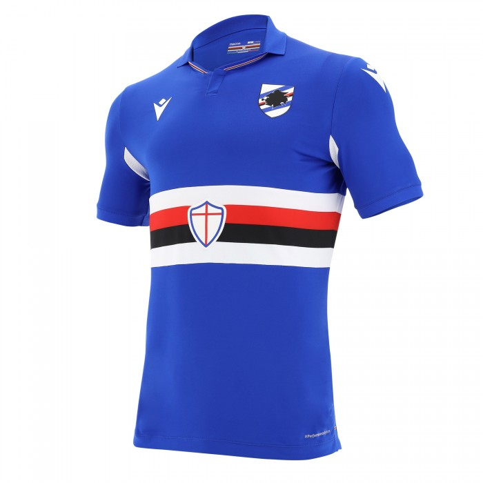 Sampdoria Home 2020/2021 Football Shirt Manufactured By Macron. The Club Plays Football In Italy.