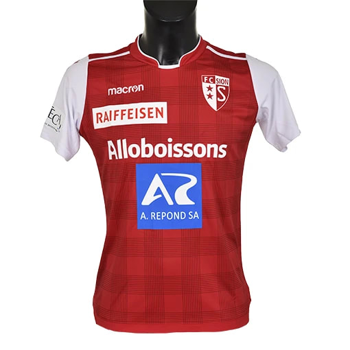 Sion Home 2019/2020 Football Shirt Manufactured By Macron. The Club Plays Football In Switzerland.