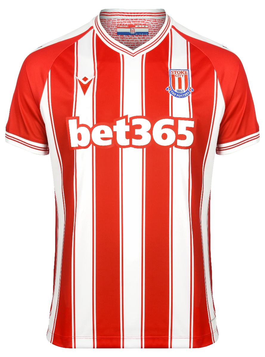 Stoke City Home 2020/2021 Football Shirt Manufactured By Macron. The Club Plays Football In The Championship.