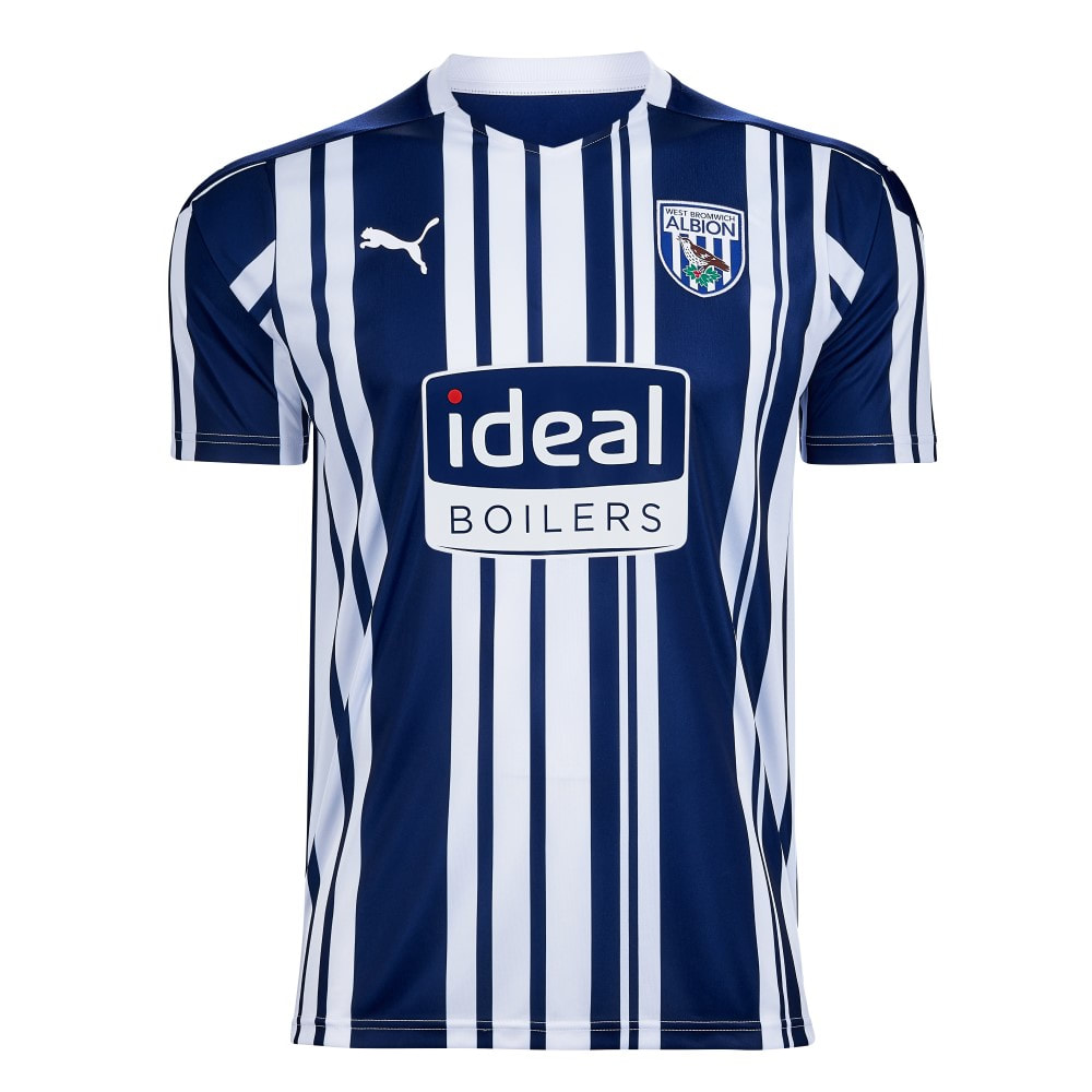 West Bromwich Albion Home 2020/2021 Football Shirt Manufactured By Puma. The Club Plays Football In The Championship.