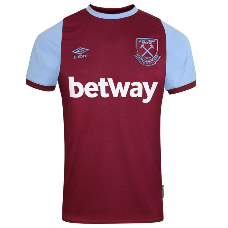 West Ham 2020/2021 Home Football Shirt Manufactured By Umbro. The Club Plays Football In England.