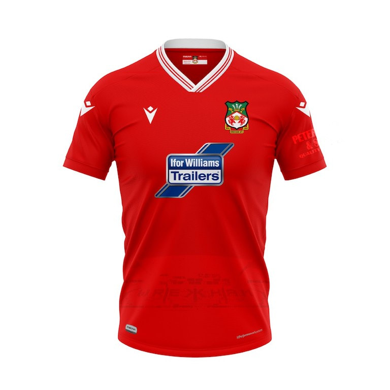Wrexham Home 2020/2021 Football Shirt Manufactured By Macron. The Club Plays Football In England.